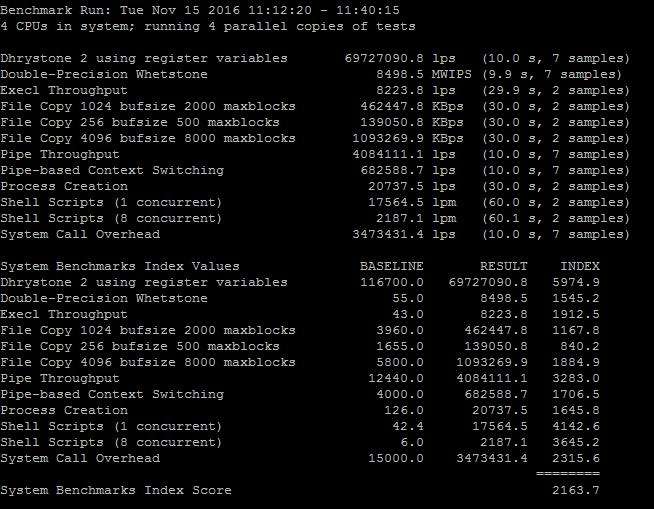 UnixBench benchmark